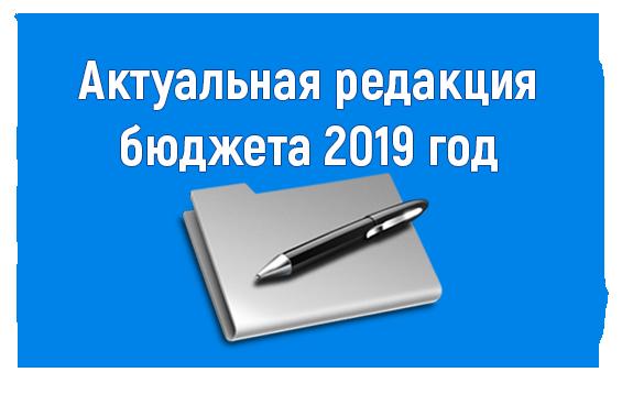 Актуальная редакция бюджета 2019 год